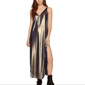 Free People Anytime Shine Metallic Maxi Slip Dress